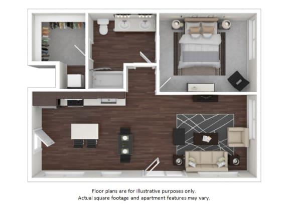 Floor Plan  A5 1 3D disclaimer floor plan at The Casey, CO, 80202