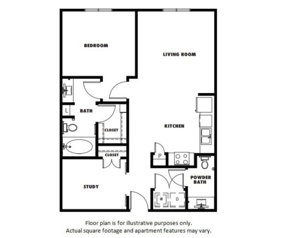 Floor Plan  A5 floor plan at Windsor Metro West, 8055 Windrose Ave, 75024
