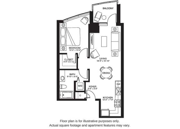 Floor Plan  A5 South floor plan at The Bravern, Washington, 98004