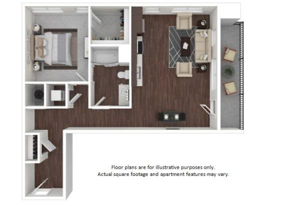 Floor Plan  A6 3D disclaimer floor plan at The Casey, Denver, Colorado