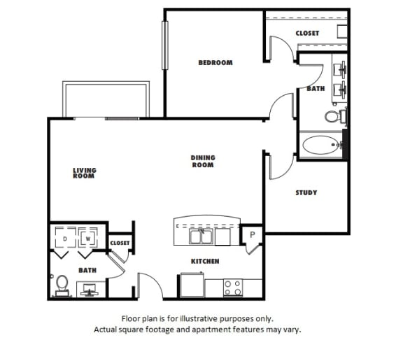 Floor Plan  A6 floor plan at Windsor Metro West, TX, 75024