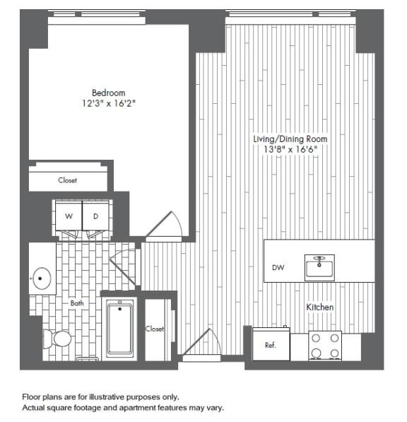 Floor Plan  A6 1 Bed 1 Bath Floor Plan at Waterside Place by Windsor, Boston