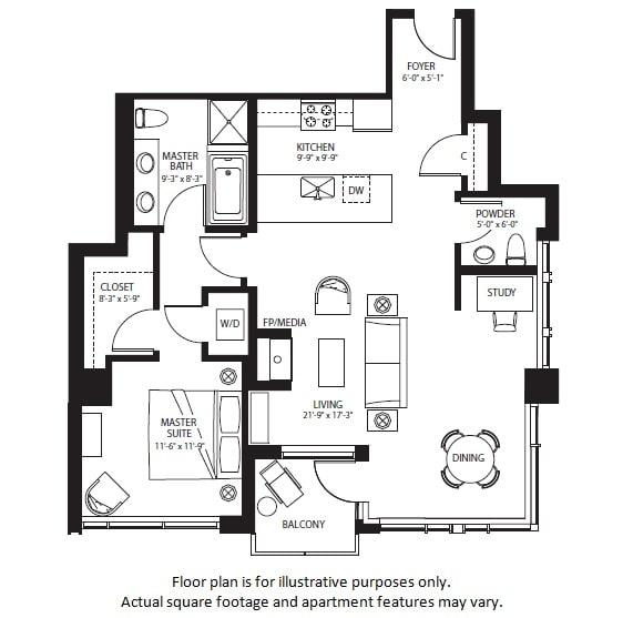 Floor Plan  A7 North NEW at The Bravern, WA, 98004
