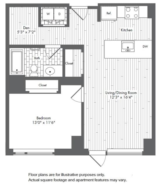 Floor Plan  A8 1 Bed 1 Bath Floor Plan at Waterside Place by Windsor, Boston, Massachusetts