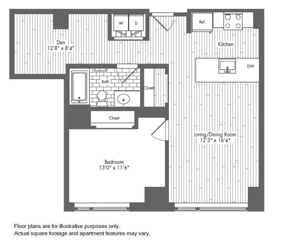 Floor Plan  A9 1 Bed 1 Bath Floor Plan at Waterside Place by Windsor, Massachusetts