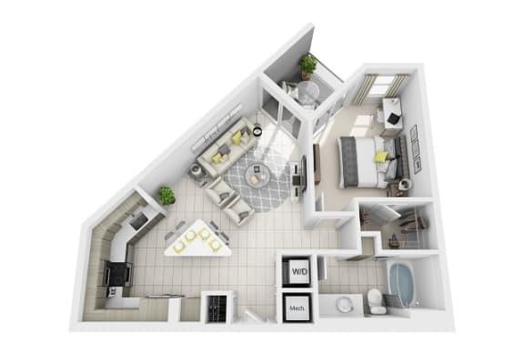 Floor Plan  1 Bedroom 1 Bathroom Floor Plan at Windsor at Pembroke Gardens, Pembroke Pines, Florida