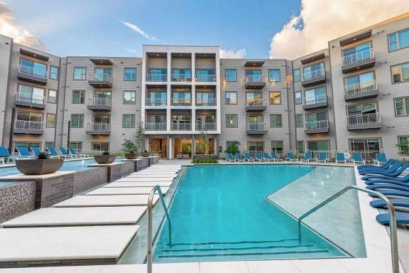 Resort style pool at Windsor Preston, Plano, Texas