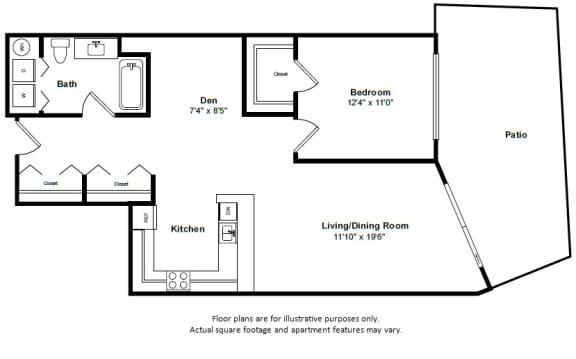 Floor Plan  Aruba floor plan at Tera Apartments, WA, 98033