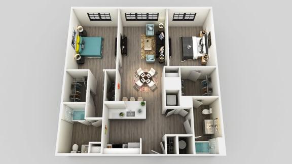 Floor Plan  2 Bedroom 2 Bathroom Floor Plan at Edison on the Charles by Windsor, Waltham