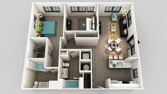 Floor Plan  2 Bedroom 1 Bathroom Floor Plan at Edison on the Charles by Windsor, Massachusetts