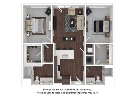 Floor Plan  B1 1 3D disclaimer floor plan at The Casey, Colorado, 80202