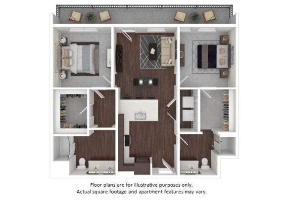 Floor Plan  B1 2 3D disclaimer floor plan at The Casey, CO, 80202
