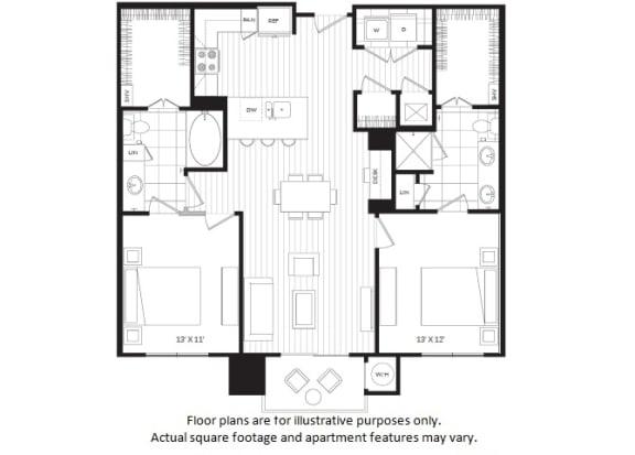 Floor Plan  B1 floor plan at Windsor Oak Hill, TX, 78735