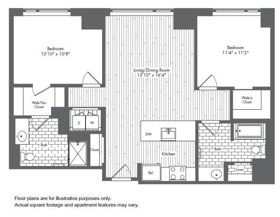 Floor Plan  B1 2 Bed 2 Bath Floor Plan at Waterside Place by Windsor, Boston, 02210