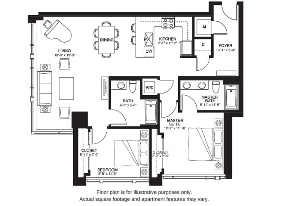Floor Plan  B12 South floor plan at The Bravern, 688 110th Ave NE, 98004