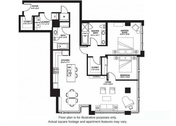 Floor Plan  B13 South(1) floor plan at The Bravern, Bellevue, WA
