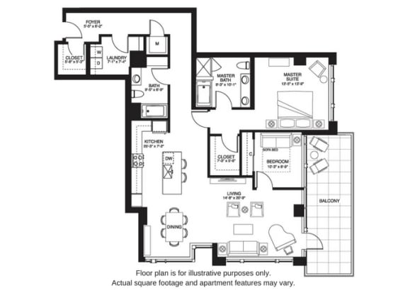 Floor Plan  B14 South floor plan at The Bravern, WA, 98004