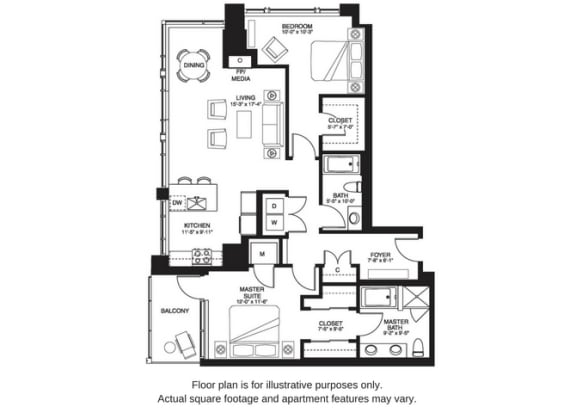 Floor Plan  B 15 South at The Bravern, Bellevue, WA
