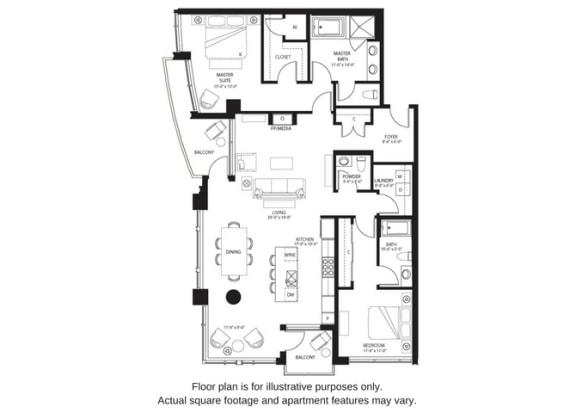 Floor Plan  B17 North floor plan at The Bravern, WA, 98004