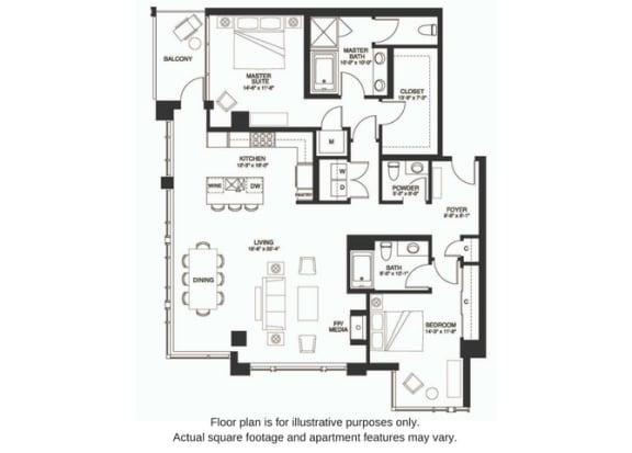 Floor Plan  B19 South floor plan at The Bravern, WA, 98004