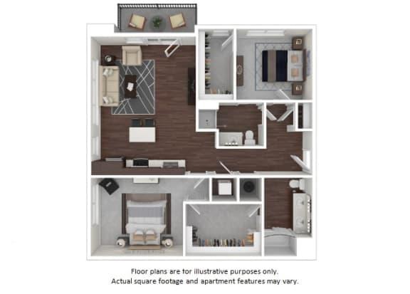 Floor Plan  B2 2 3D disclaimer floor plan at The Casey, Denver, Colorado