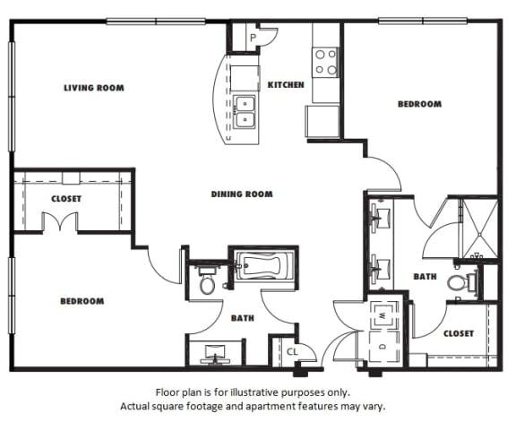 Floor Plan  B2 floor plan at Windsor Metro West, TX, 75024