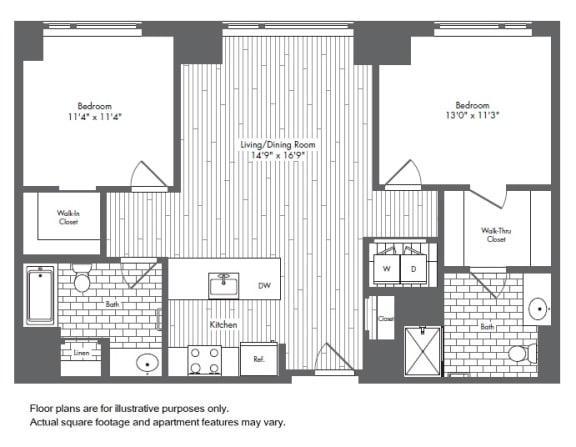 Floor Plan  B2 2 Bed 2 Bath Floor Plan at Waterside Place by Windsor, Boston, Massachusetts