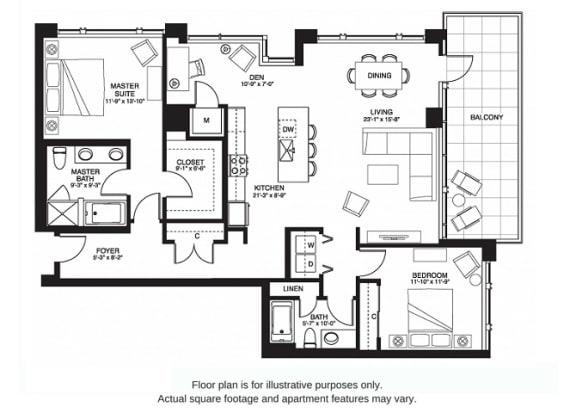 Floor Plan  B21 South(1) at The Bravern, 688 110th Ave NE, 98004