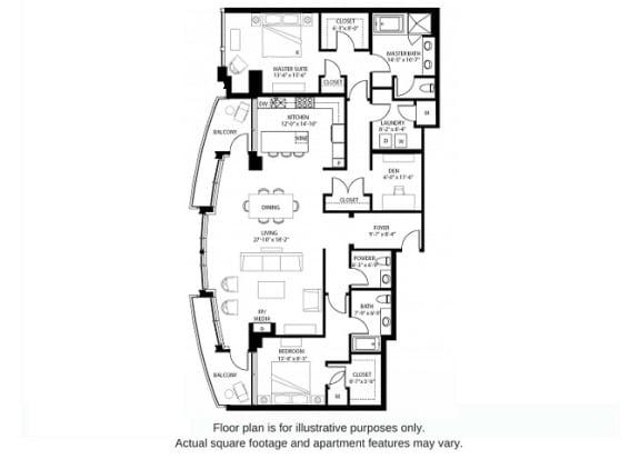 Floor Plan  B22 North(1) floor plan at The Bravern, 688 110th Ave NE, 98004