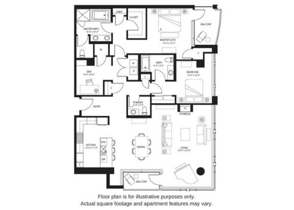 Floor Plan  B23 North floor plan at The Bravern, Bellevue, WA