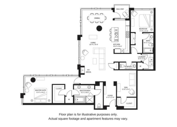 Floor Plan  B25 North floor plan at The Bravern, Bellevue, Washington