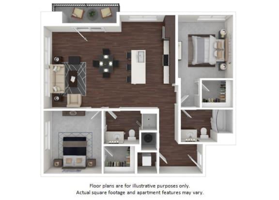 Floor Plan  B3 1 3D disclaimer floor plan at The Casey, Colorado, 80202