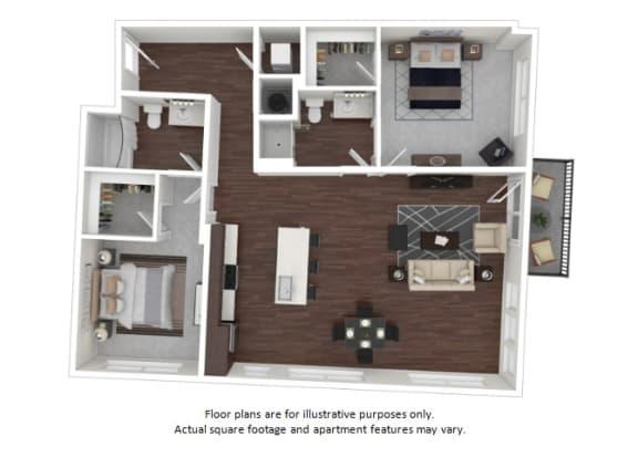 Floor Plan  B3 3 3D disclaimer at The Casey, Denver, CO