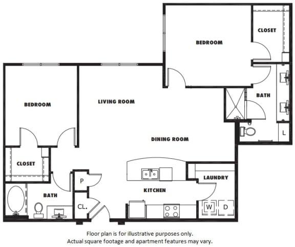 Floor Plan  B3 floor plan at Windsor Metro West, Texas, 75024