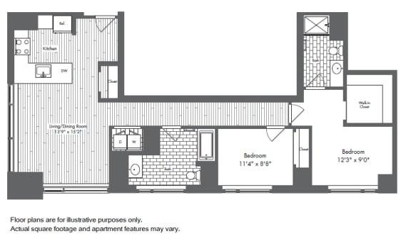 Floor Plan  B4 2 Bed 2 Bath Floor Plan at Waterside Place by Windsor, Massachusetts