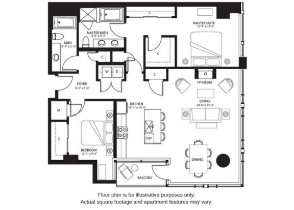 Floor Plan  B7 North floor plan at The Bravern, Bellevue, WA