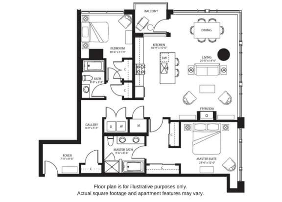 Floor Plan  B8 North floor plan at The Bravern, WA, 98004