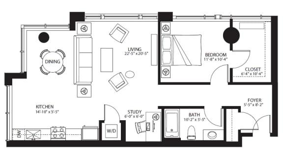 Floor Plan  A20 floor plan at The Bravern, Bellevue, WA