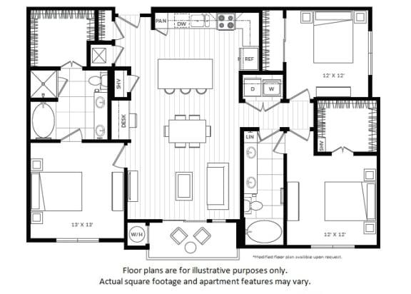 Floor Plan  C1 updated floor plan at Windsor Oak Hill, Austin, TX
