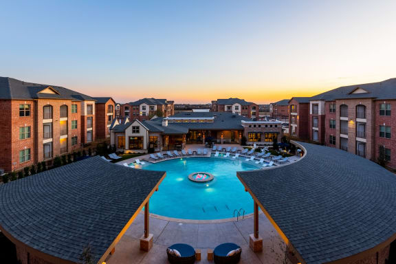 Retreat Pool with Sundeck and Private Cabanas at Windsor Castle Hills, Texas