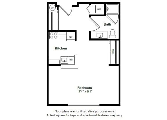 Floor Plan  Cozumel floor plan at Tera Apartments, Kirkland, Washington