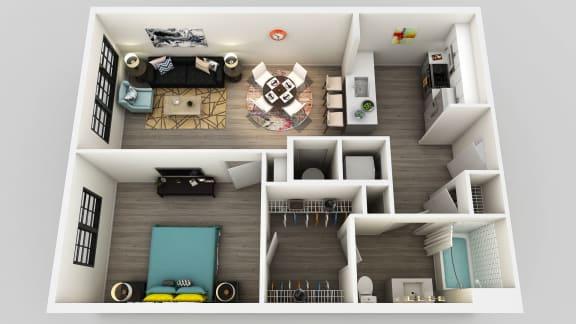 Floor Plan  1 Bedroom 1 Bathroom Floor Plan at Edison on the Charles, Waltham, MA, 02453