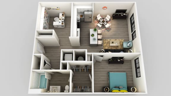 Floor Plan  One Bed One Bath Floor Plan at Edison on the Charles, Waltham