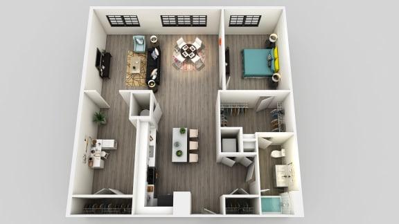 Floor Plan  1 Bedroom 1 Bathroom Floor Plan at Edison on the Charles, Massachusetts, 02453