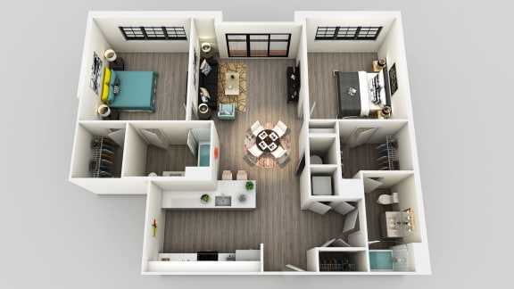 Floor Plan  Two Bed Two Bath Floor Plan at Edison on the Charles, Waltham, MA, 02453
