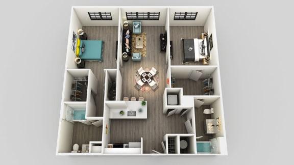 Floor Plan  2 Bedroom 2 Bathroom Floor Plan at Edison on the Charles, Waltham