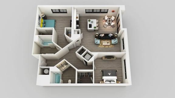 Floor Plan  2 Bedroom 2 Bathroom Floor Plan at Edison on the Charles, Waltham, 02453