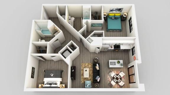 Floor Plan  2 Bedroom 2 Bathroom Floor Plan at Edison on the Charles, Waltham, MA