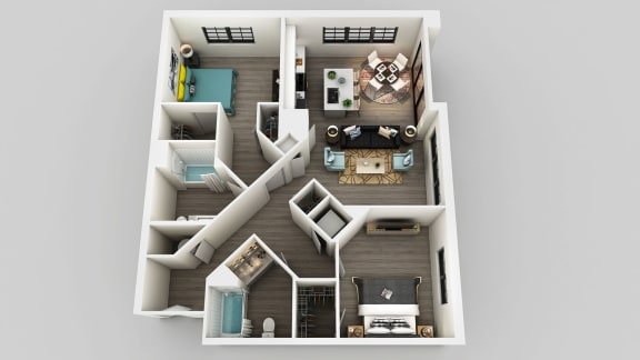 Floor Plan  2 bedroom 2 bath Floor Plan at Edison on the Charles, Massachusetts, 02453