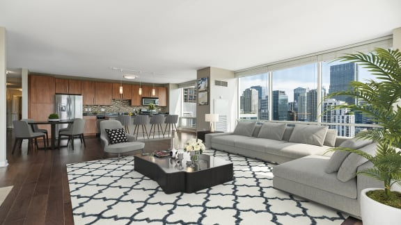 Open living room at Flair Tower Apartments, River North, Chicago